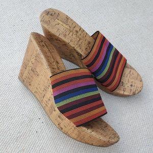 Muticolor Striped Slip On Platform Wedge Sandal